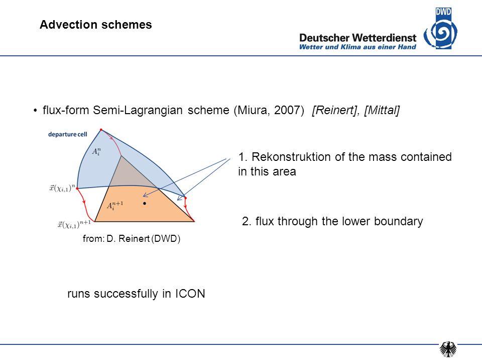 flux-form Semi-Lagrangian scheme (Miura, 2007) [Reinert], [Mittal]